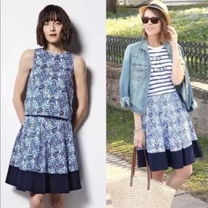 Milly DesignNation Blue Tile Pleated Flowy Skirt